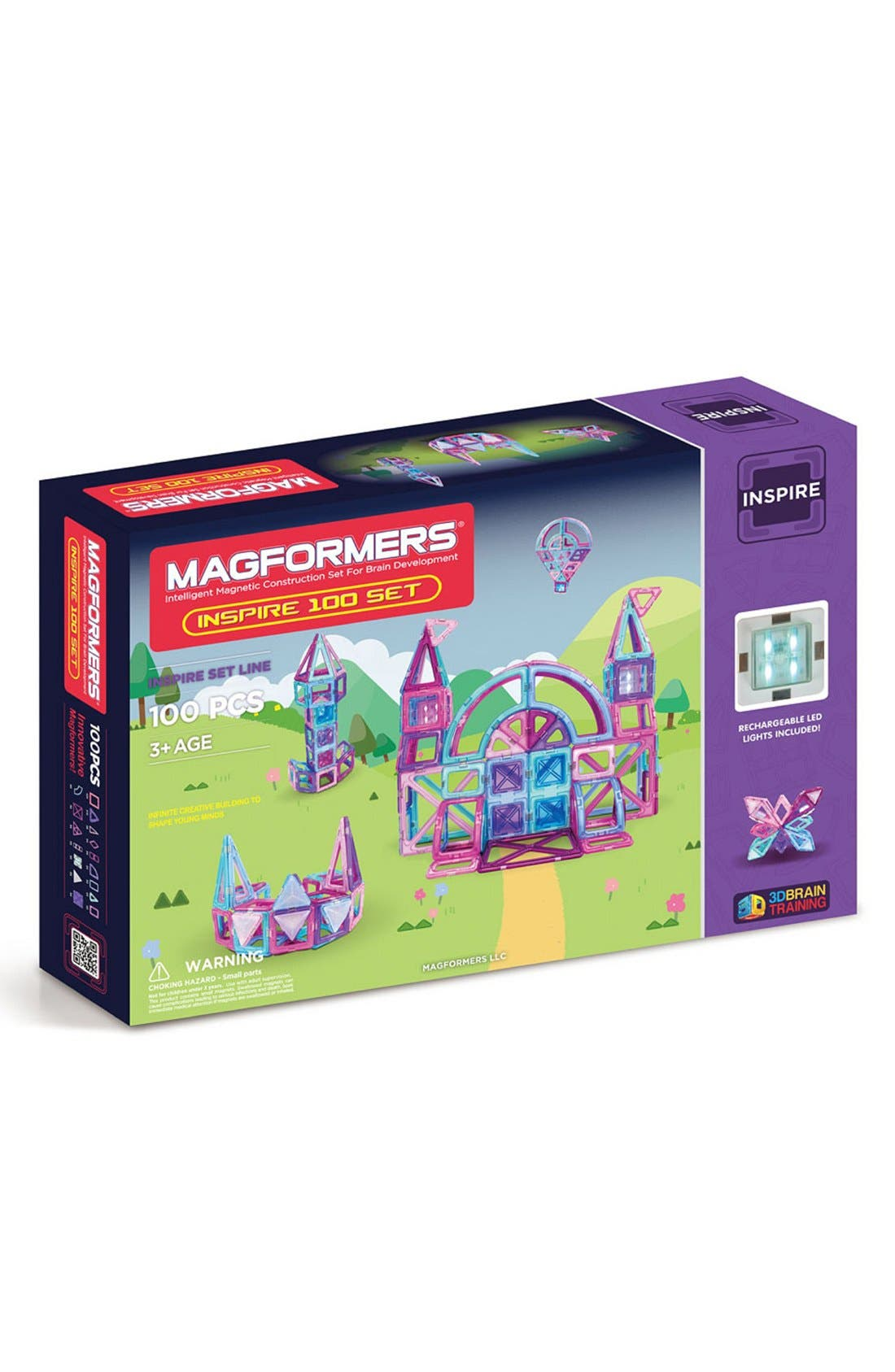 'Inspire' Magnetic Construction Set,                         Main,                         color, Pink/ Purple/ Teal