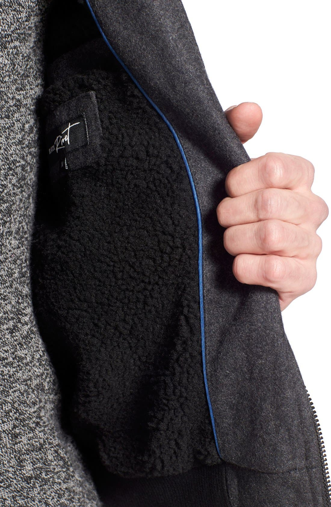 Wool Blend Bomber Jacket,                             Alternate thumbnail 4, color,                             Charcoal