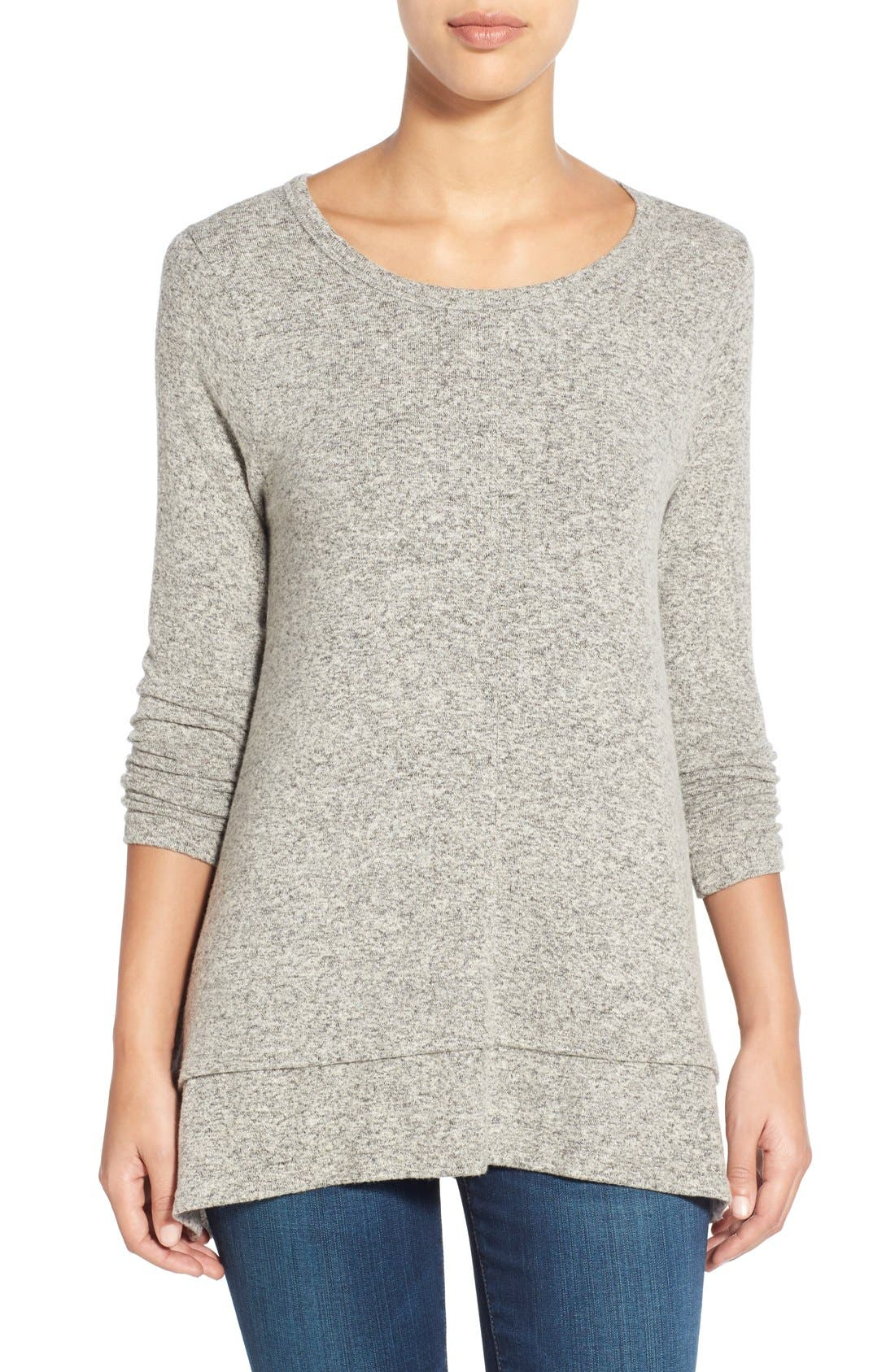 Button Back Fuzzy Fleece Tunic,                         Main,                         color, Ash