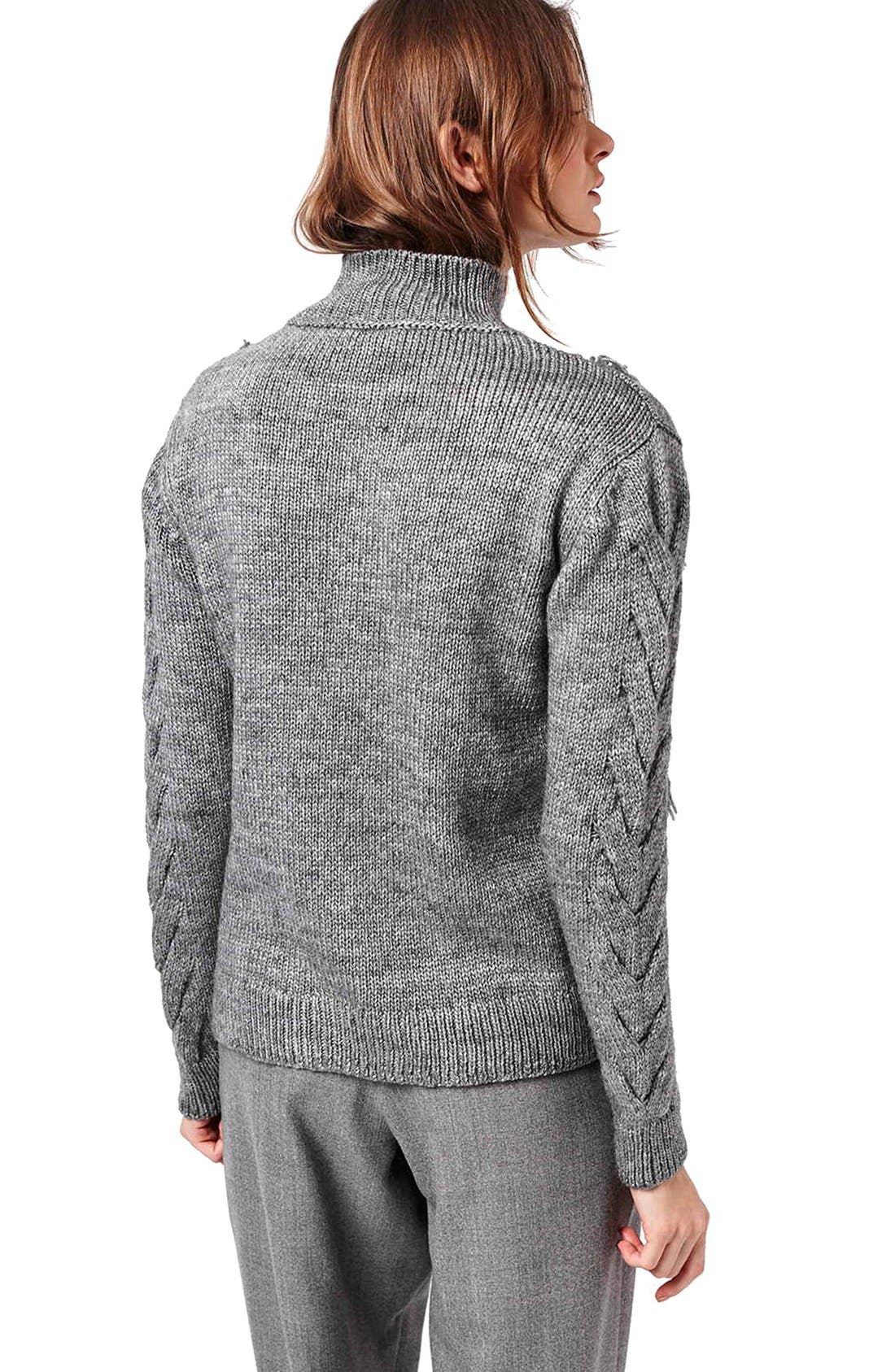 Alternate Image 3  - Topshop Fringe Cable Knit Sweater