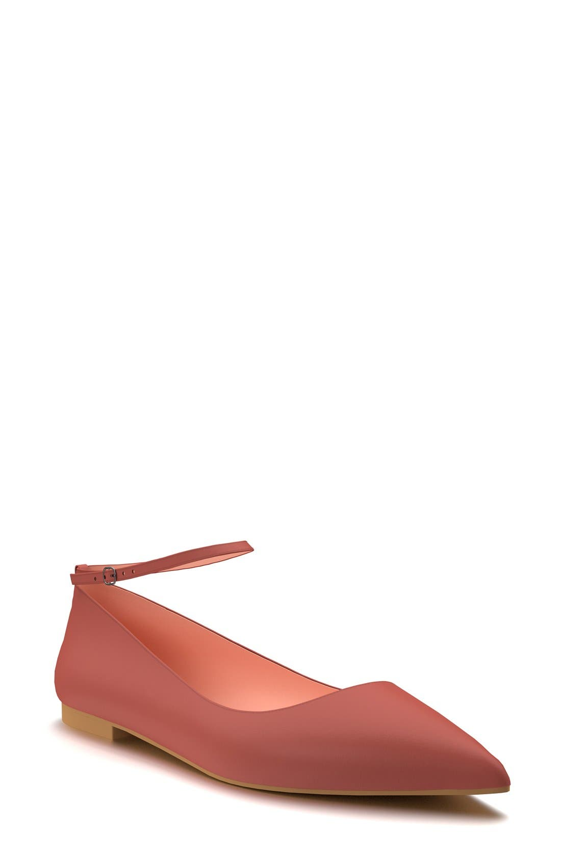 Ankle Strap Flat,                         Main,                         color, Marsala Leather
