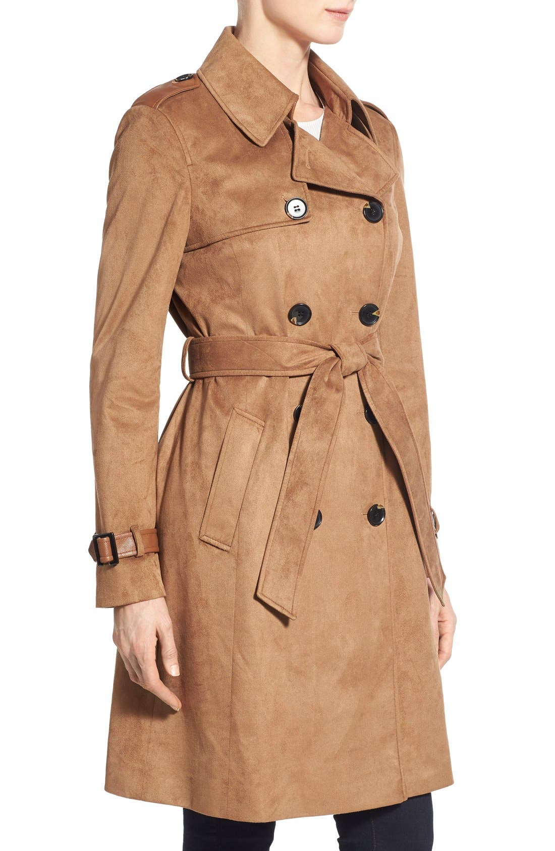 Alternate Image 3  - Via Spiga Double Breasted Faux Suede Trench Coat
