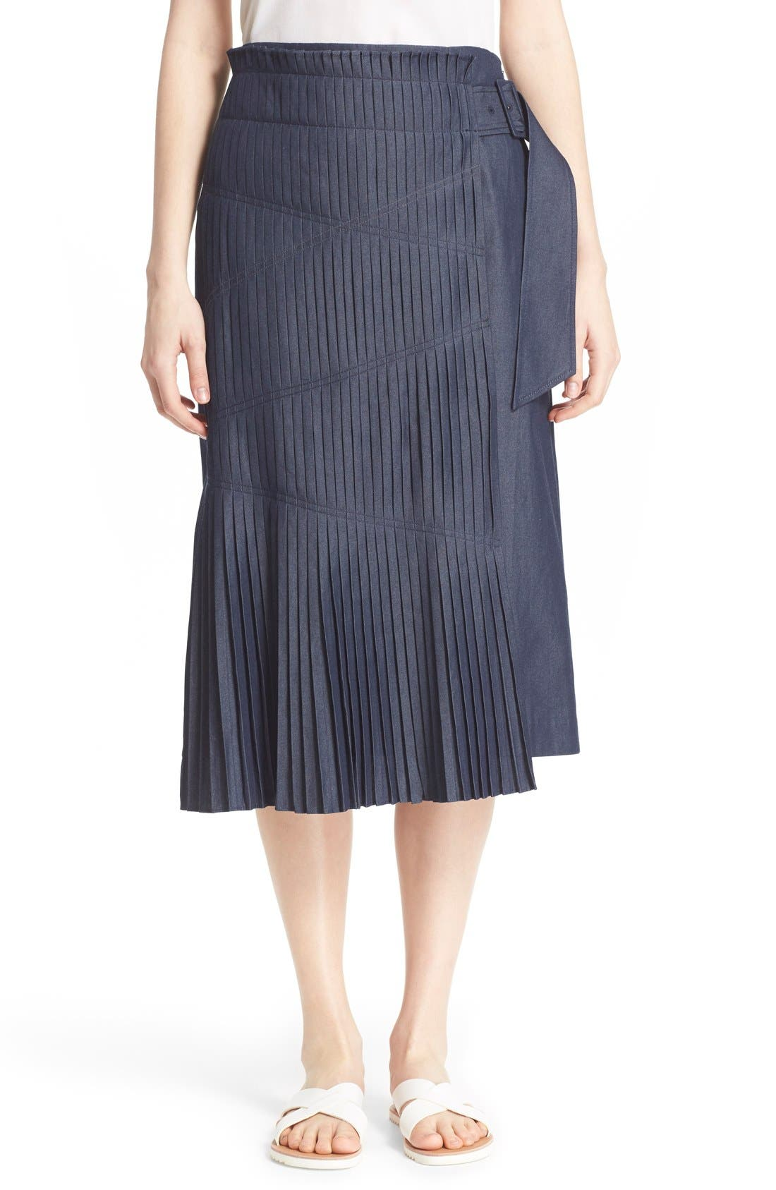 'Manuela' Pleated Cotton Midi Skirt,                             Main thumbnail 1, color,                             Steel Denim
