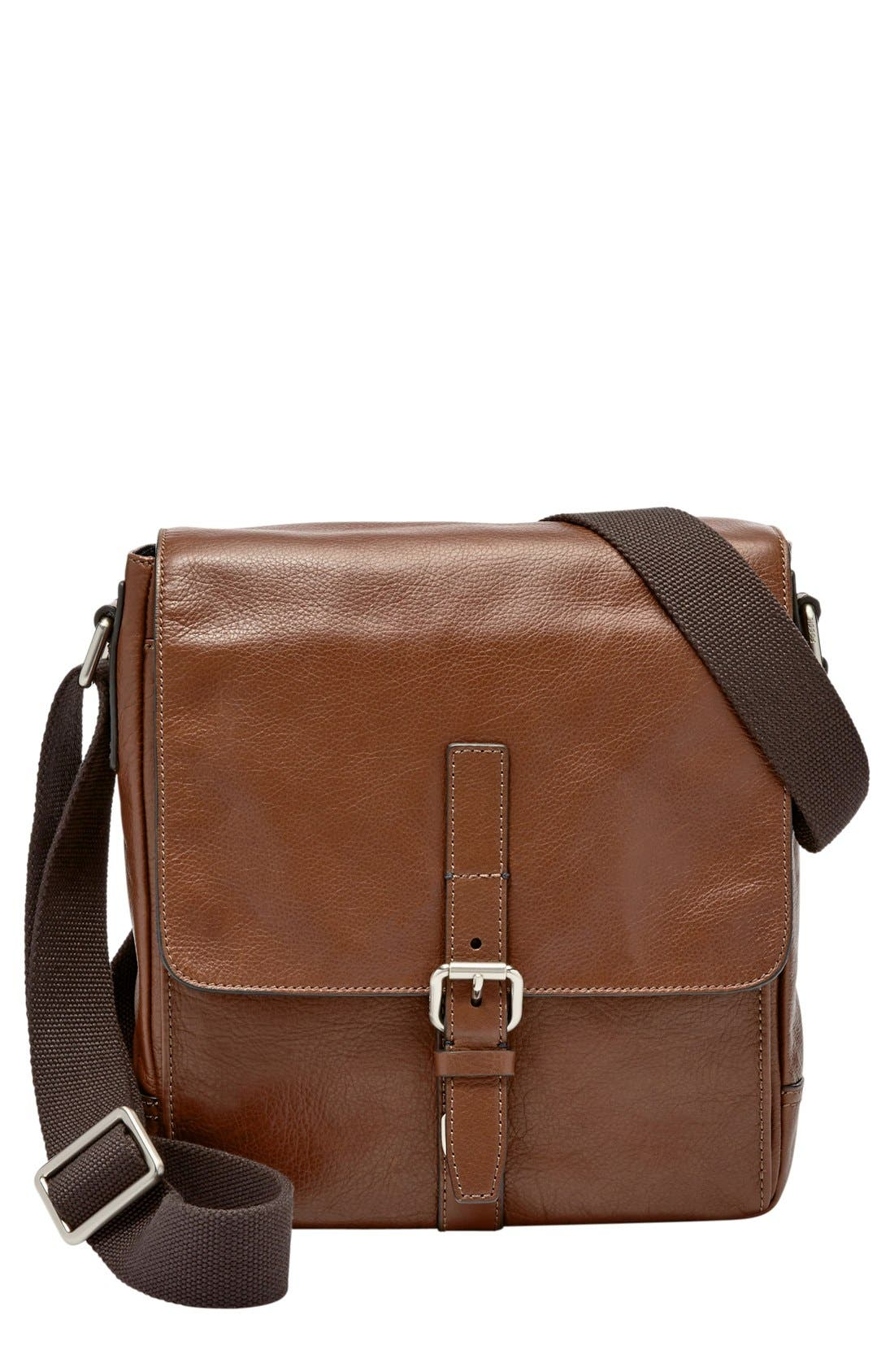 Fossil 'Davis' Leather Messenger Bag