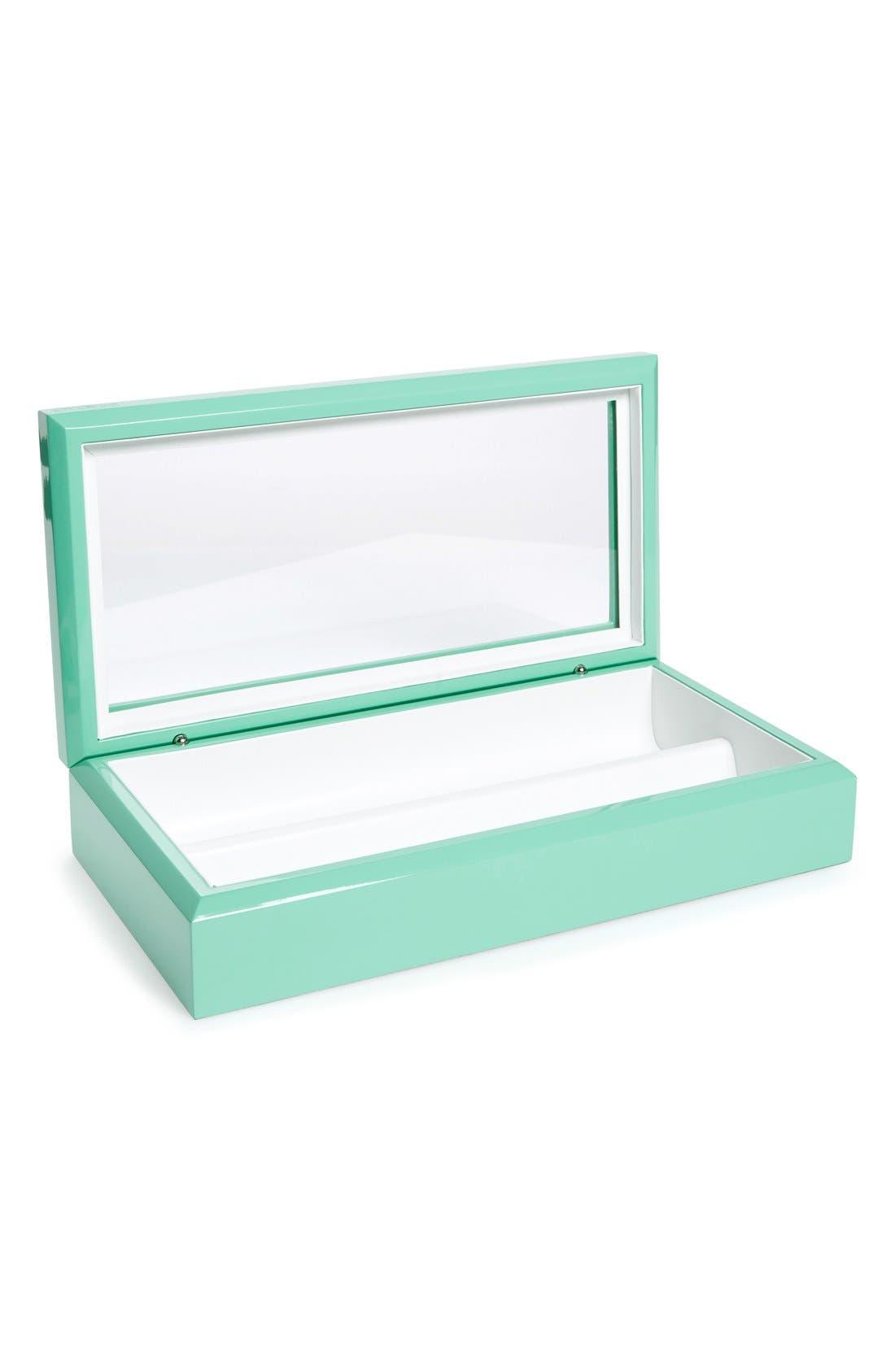 Lacquered Wood Window Top Eyewear Organizer Case,                             Alternate thumbnail 5, color,                             Aqua