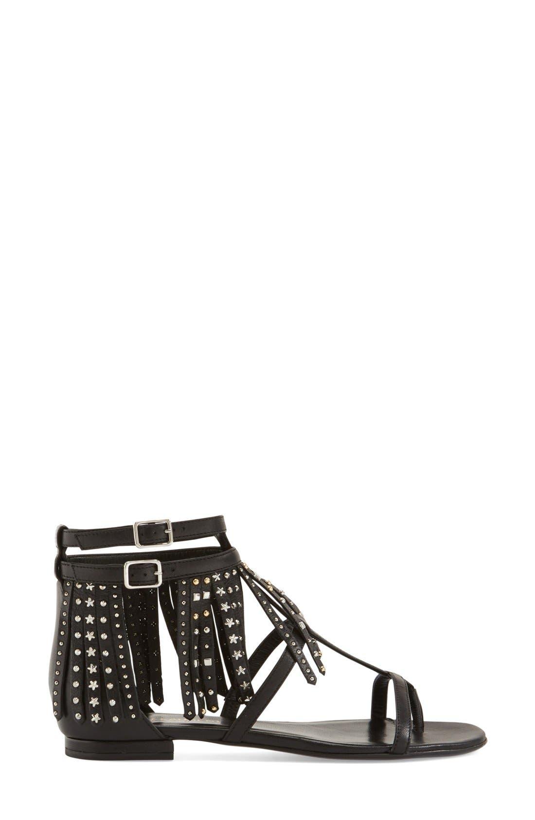 Alternate Image 4  - Saint Laurent 'Nu' Studded Fringe Sandal (Women)