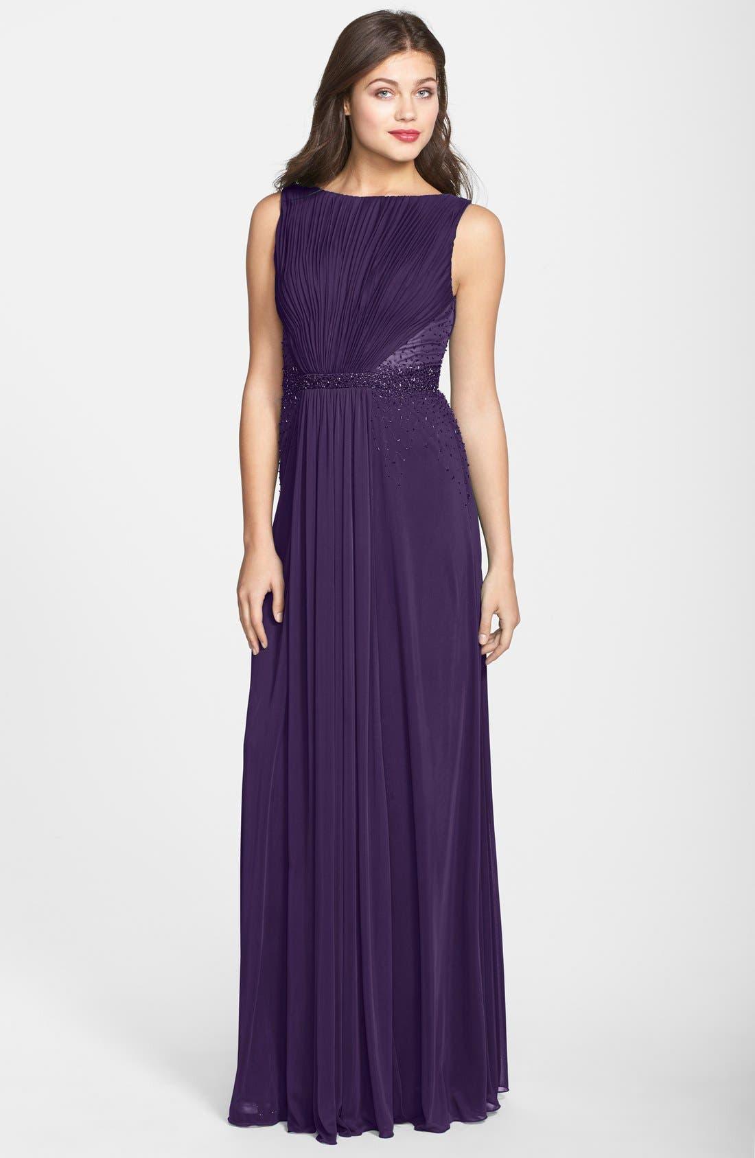 Alternate Image 1 Selected - JS Boutique Drape Matte Jersey Chiffon Dress