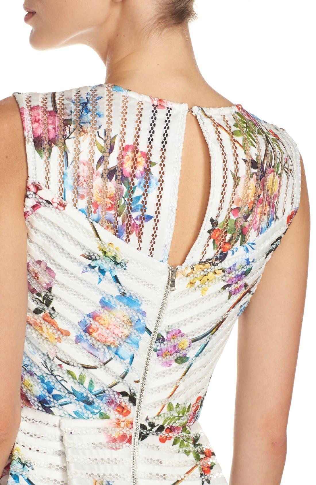 Alternate Image 4  - Gabby Skye Floral Scuba Mesh Fit & Flare Dress