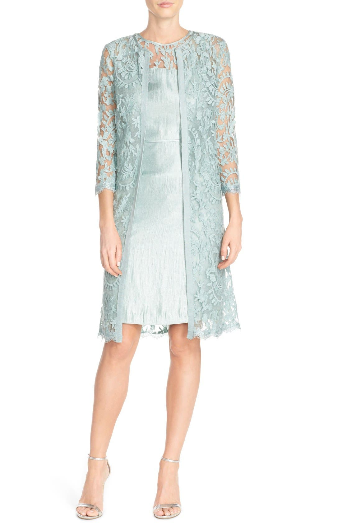 Embroidered Lace Illusion Yoke Sheath Dress &Topper,                             Alternate thumbnail 3, color,                             Icy Mint