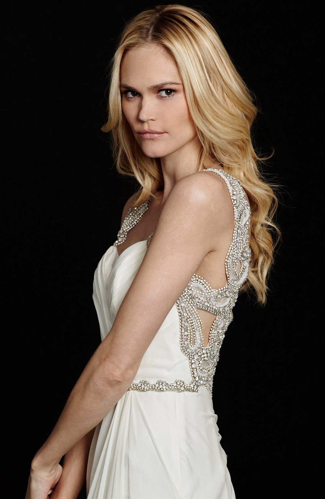 Alternate Image 3  - Hayley Paige Portia Embellished Open Back Chiffon Gown