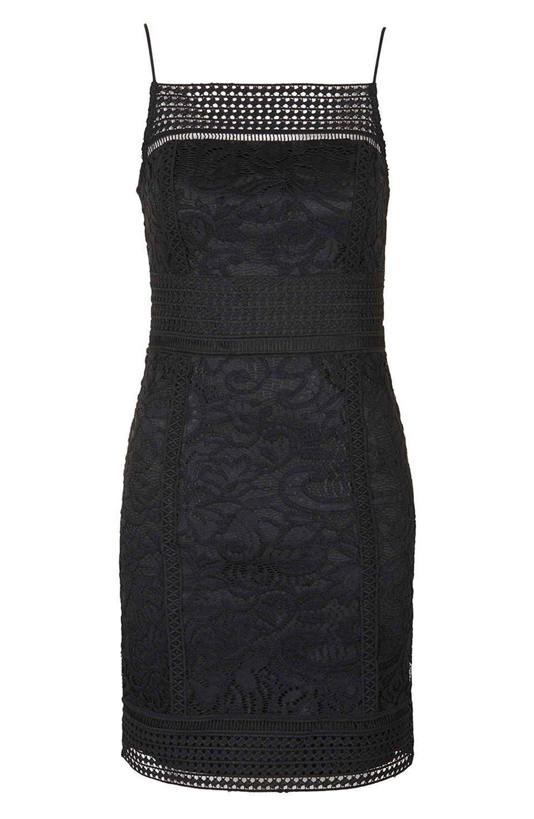 Alternate Image 4  - Topshop Floral Crochet Body-Con Dress (Regular & Petite)