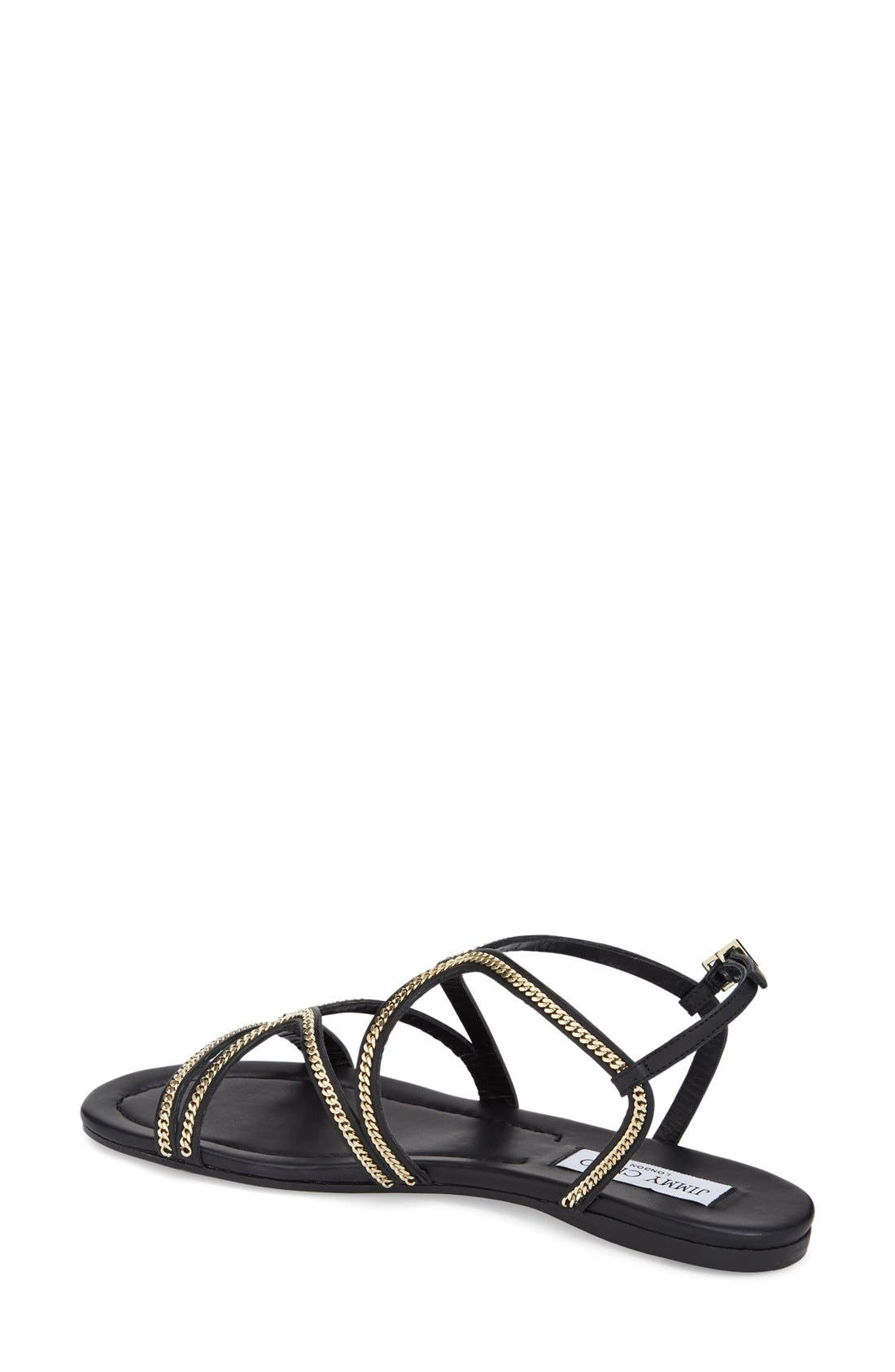 'Nickel' Sandal,                             Alternate thumbnail 2, color,                             Black Leather