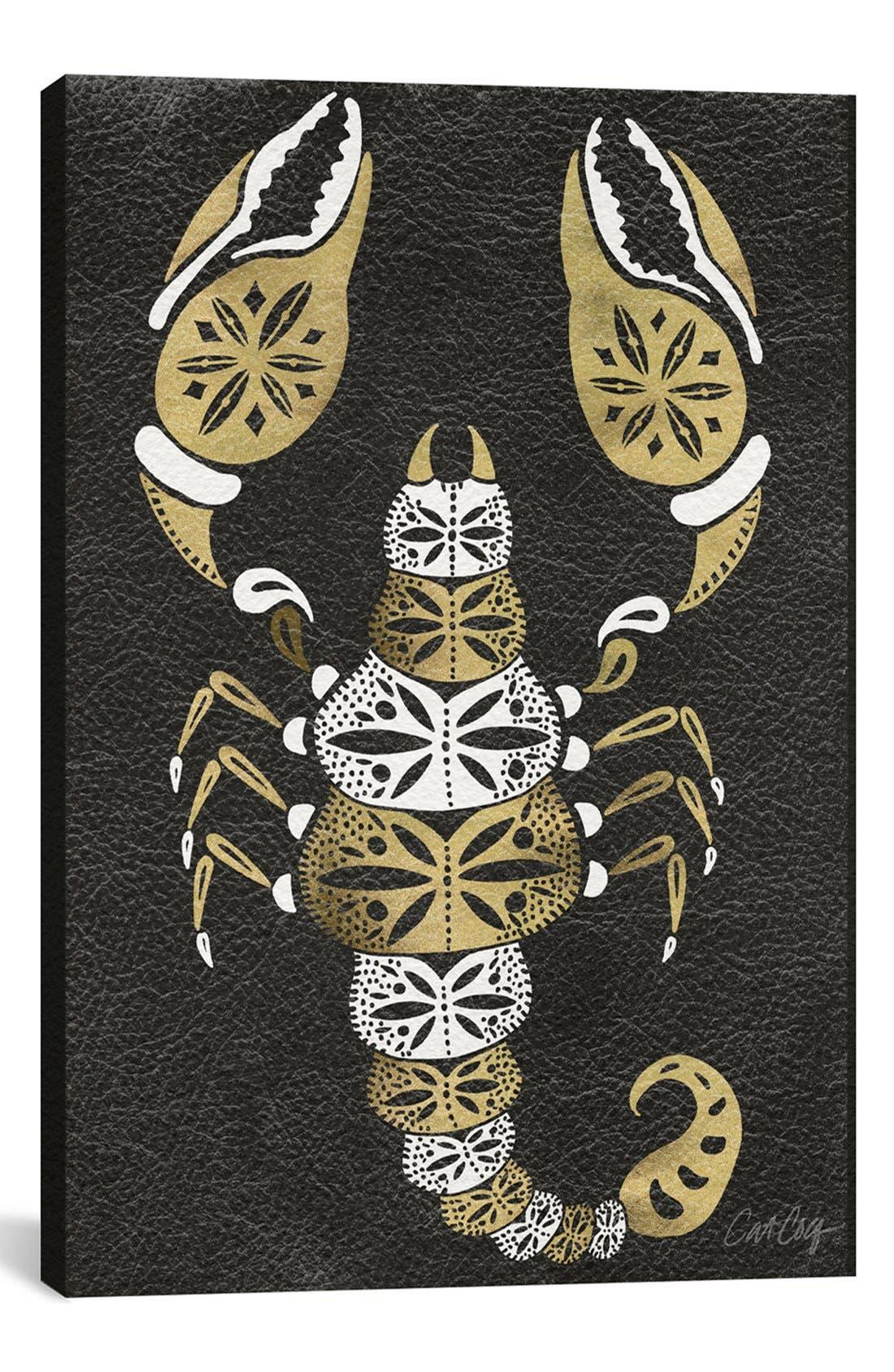 'Black & Gold Scorpion' Leather Art Print,                             Main thumbnail 1, color,                             Black