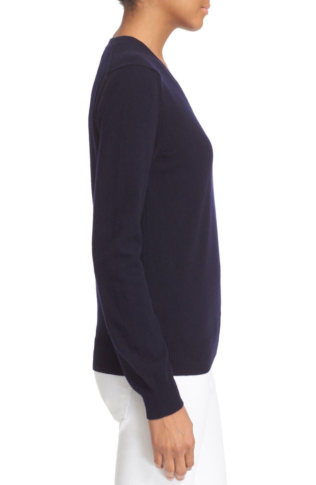 Comme des Garçons 'Play' Wool V-Neck Pullover,                             Alternate thumbnail 3, color,                             Navy