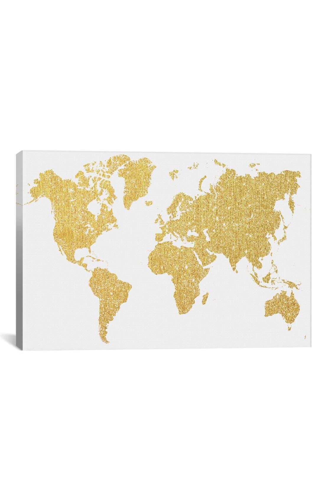 'Gold Map' Giclée Print Canvas Art,                         Main,                         color, Metallic Gold
