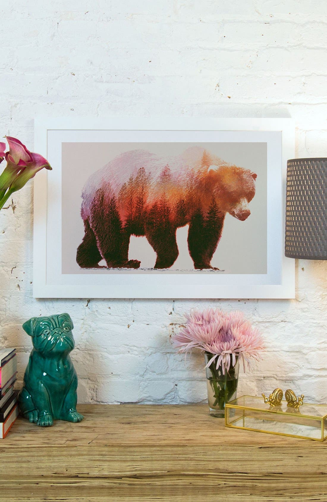 Alternate Image 2  - iCanvas 'Brown Bear' Giclée Print Framed Canvas Art