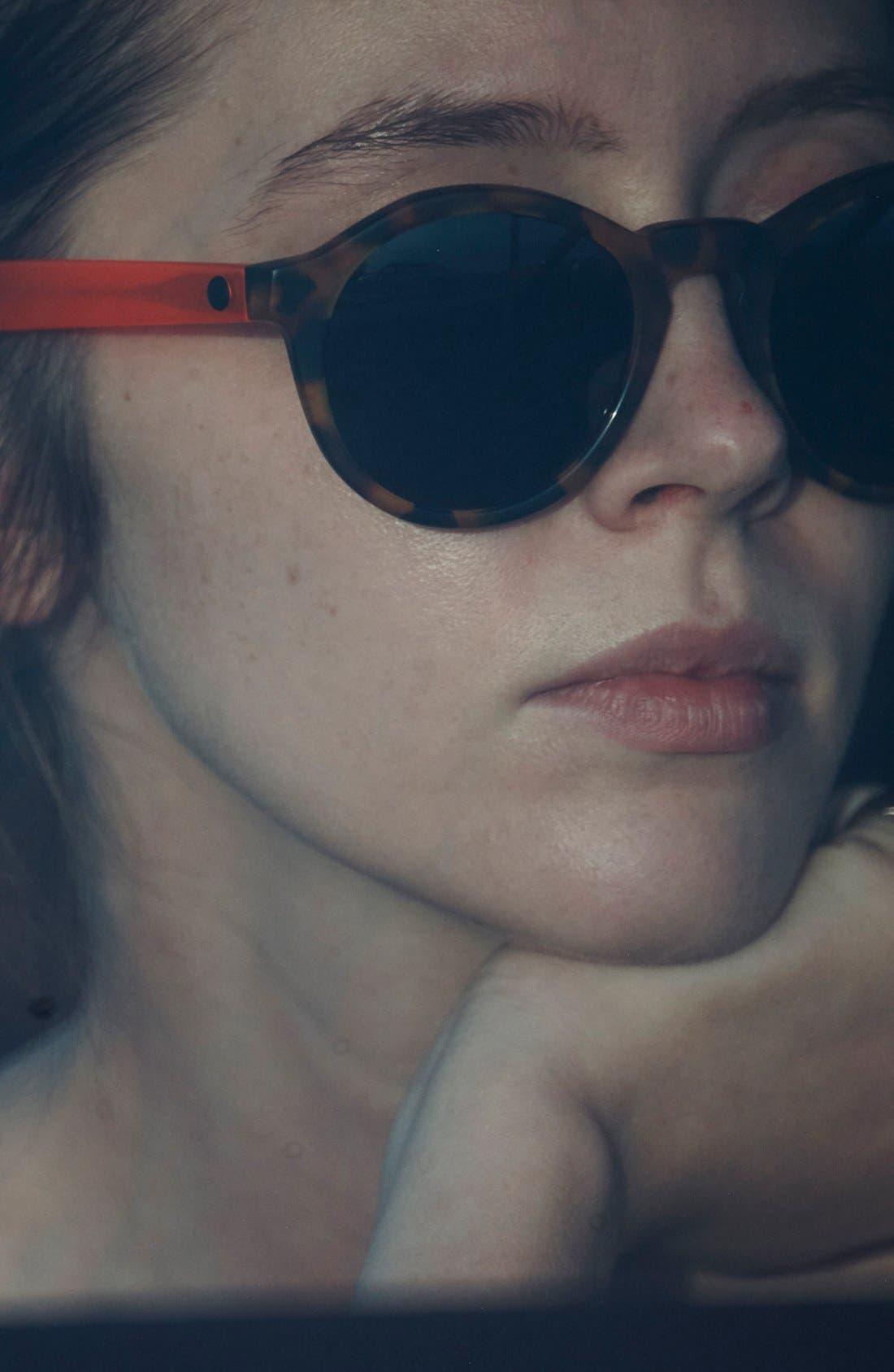 'Reprise' 50mm Round Sunglasses,                             Alternate thumbnail 4, color,                             Matte Coral Tortoise/ Grey