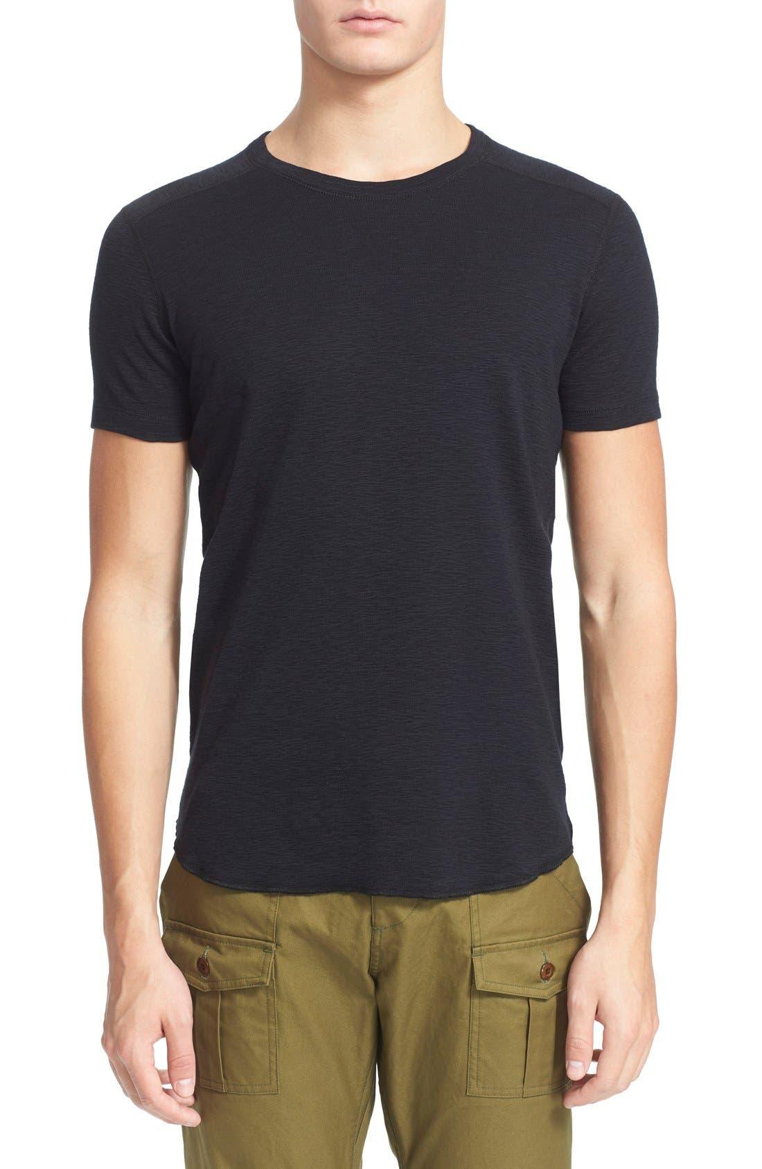 Ribbed Slub Cotton T-Shirt,                         Main,                         color, Black