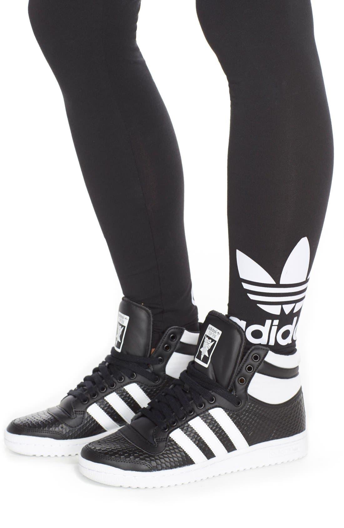 Originals Logo Leggings,                             Alternate thumbnail 6, color,                             Black/ White