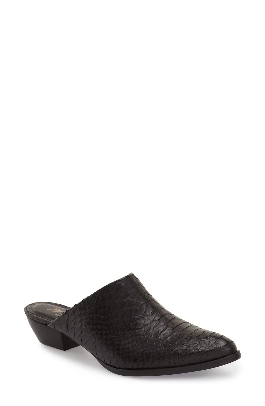 'Clover' Mule,                         Main,                         color, Black Leather
