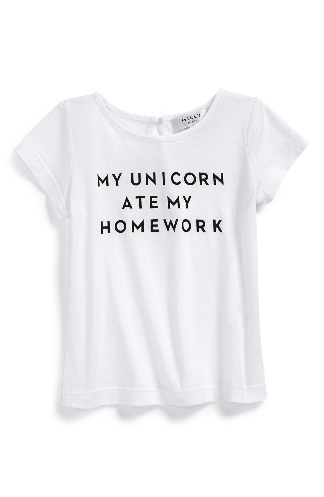 'My Unicorn Ate My Homework' Graphic Tee,                             Main thumbnail 1, color,                             White