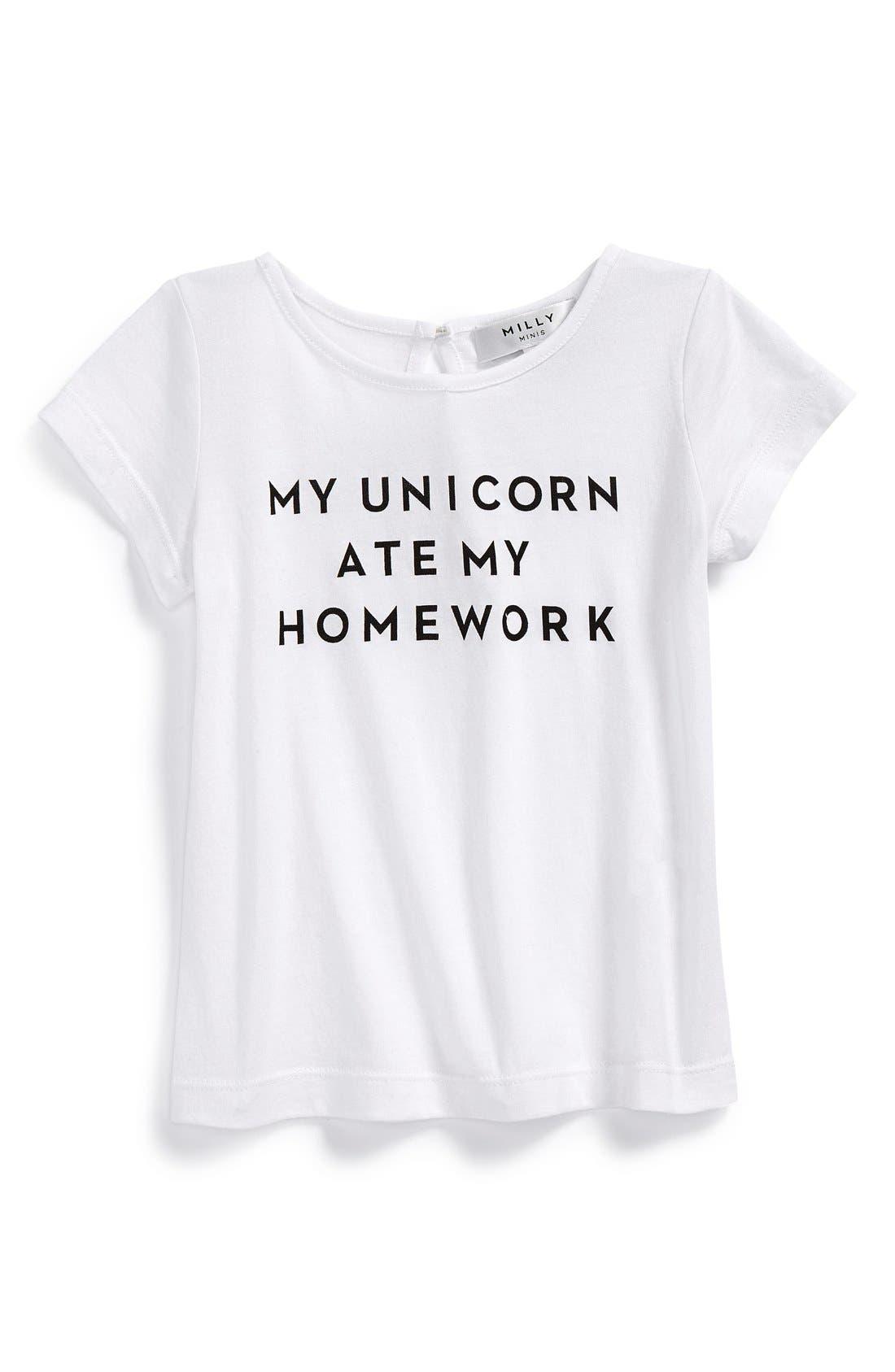 'My Unicorn Ate My Homework' Graphic Tee,                         Main,                         color, White