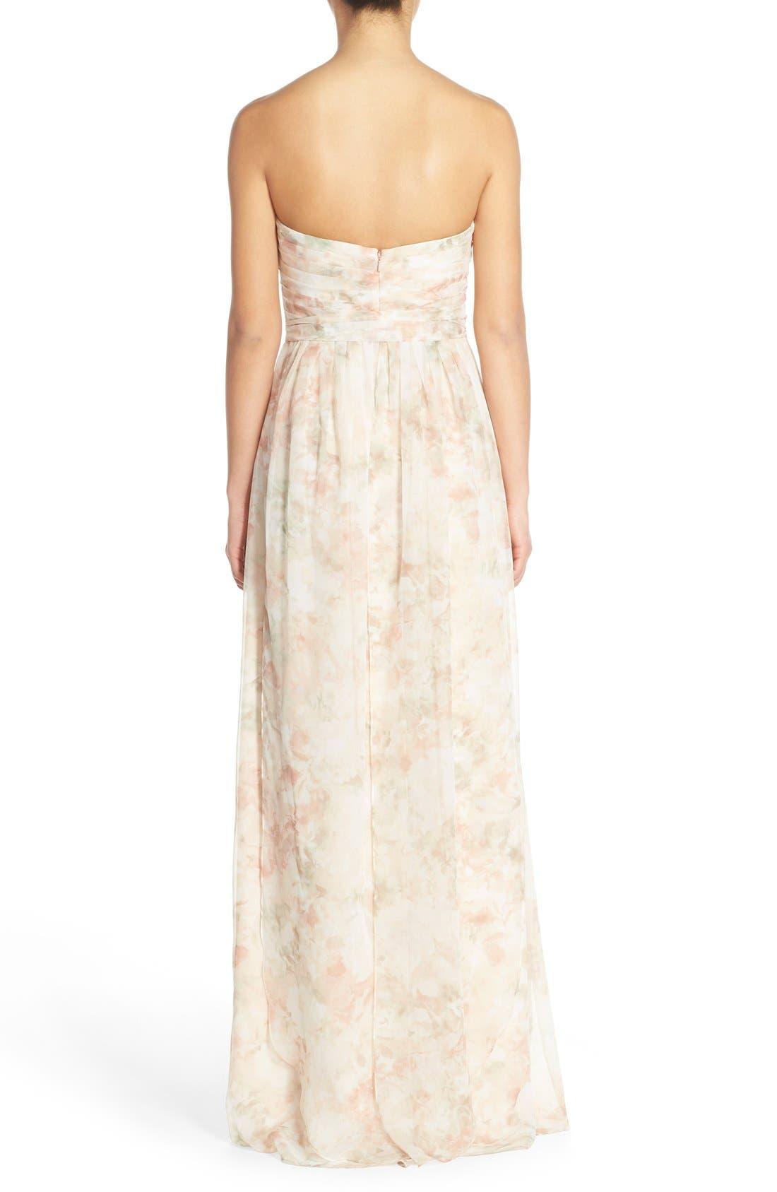 Nyla Floral Print Convertible Strapless Chiffon Gown,                             Alternate thumbnail 2, color,                             Blush Multi