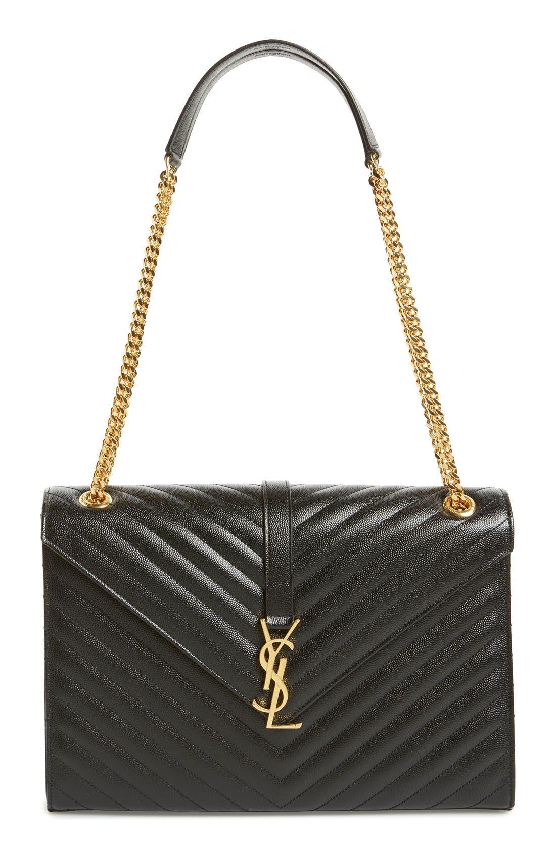 'Large Monogram' Grained Leather Shoulder Bag,                             Main thumbnail 1, color,                             Nero/ Gold Hdwr