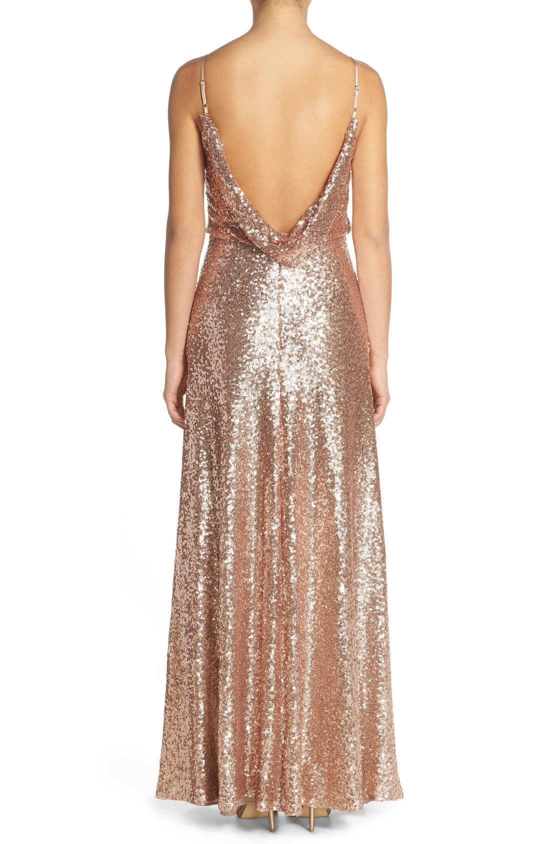 Jules Sequin Blouson Gown with Detachable Back Cowl,                             Alternate thumbnail 2, color,                             Rose Gold
