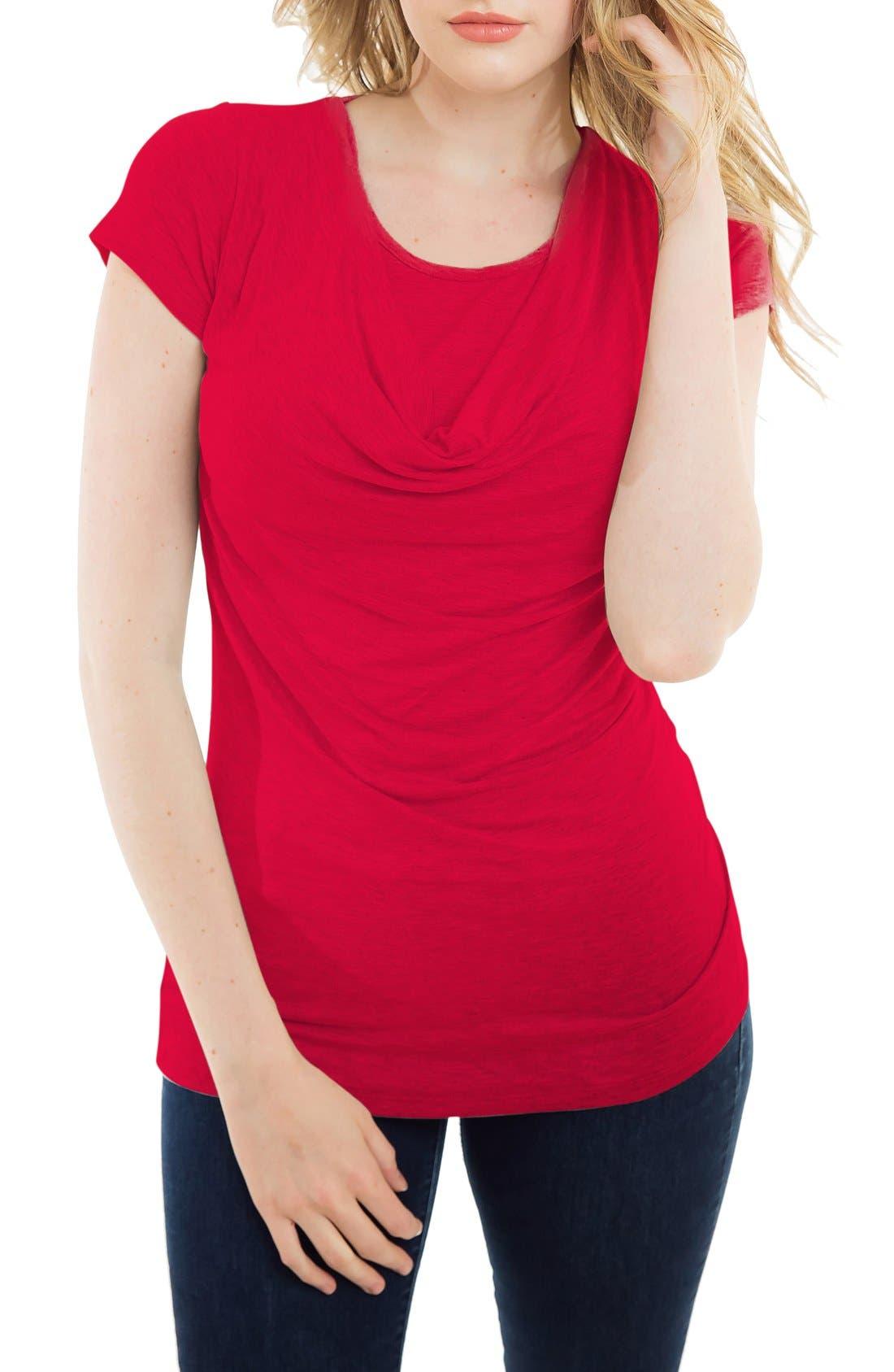 Cowl Neck Short Sleeve Nursing Top,                         Main,                         color, Red Wine