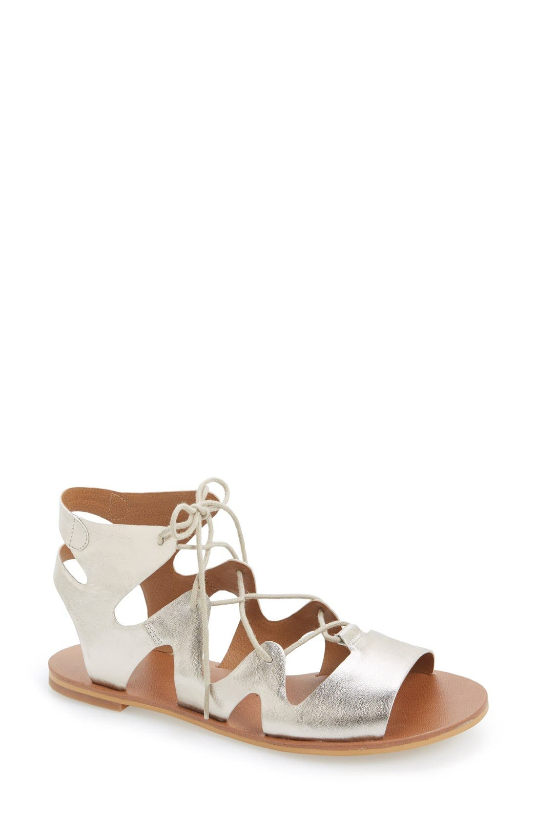 'Alyona' Lace-Up Gladiator Sandal,                             Main thumbnail 1, color,                             Platinum Faux Leather