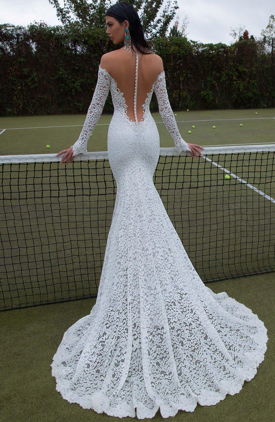 Plunging V-Neck Long Sleeve Lace Dress,                             Alternate thumbnail 2, color,                             Ivory