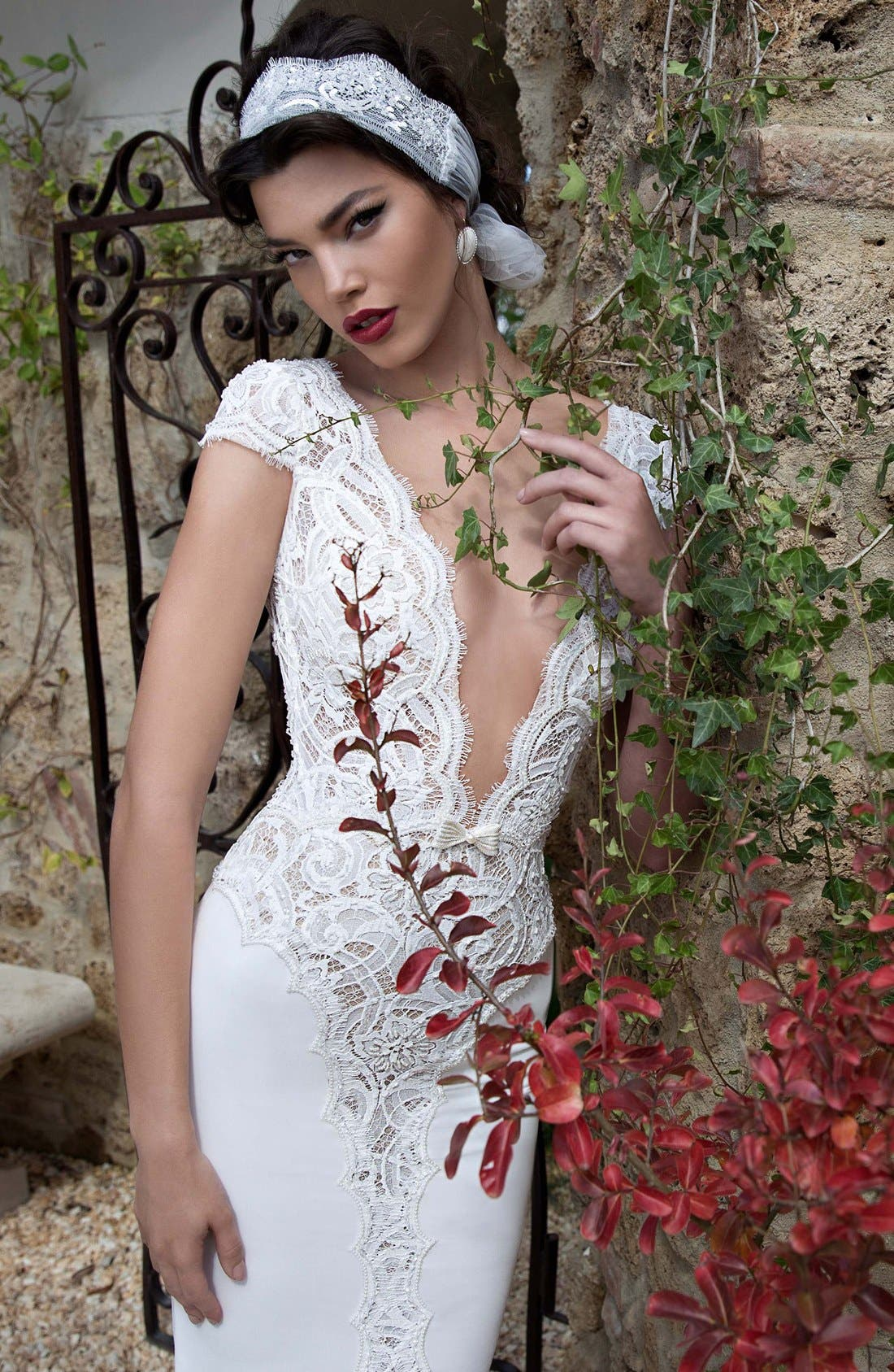 Plunging V-Neck Cap Sleeve Lace & Tulle Dress,                             Alternate thumbnail 2, color,                             Ivory