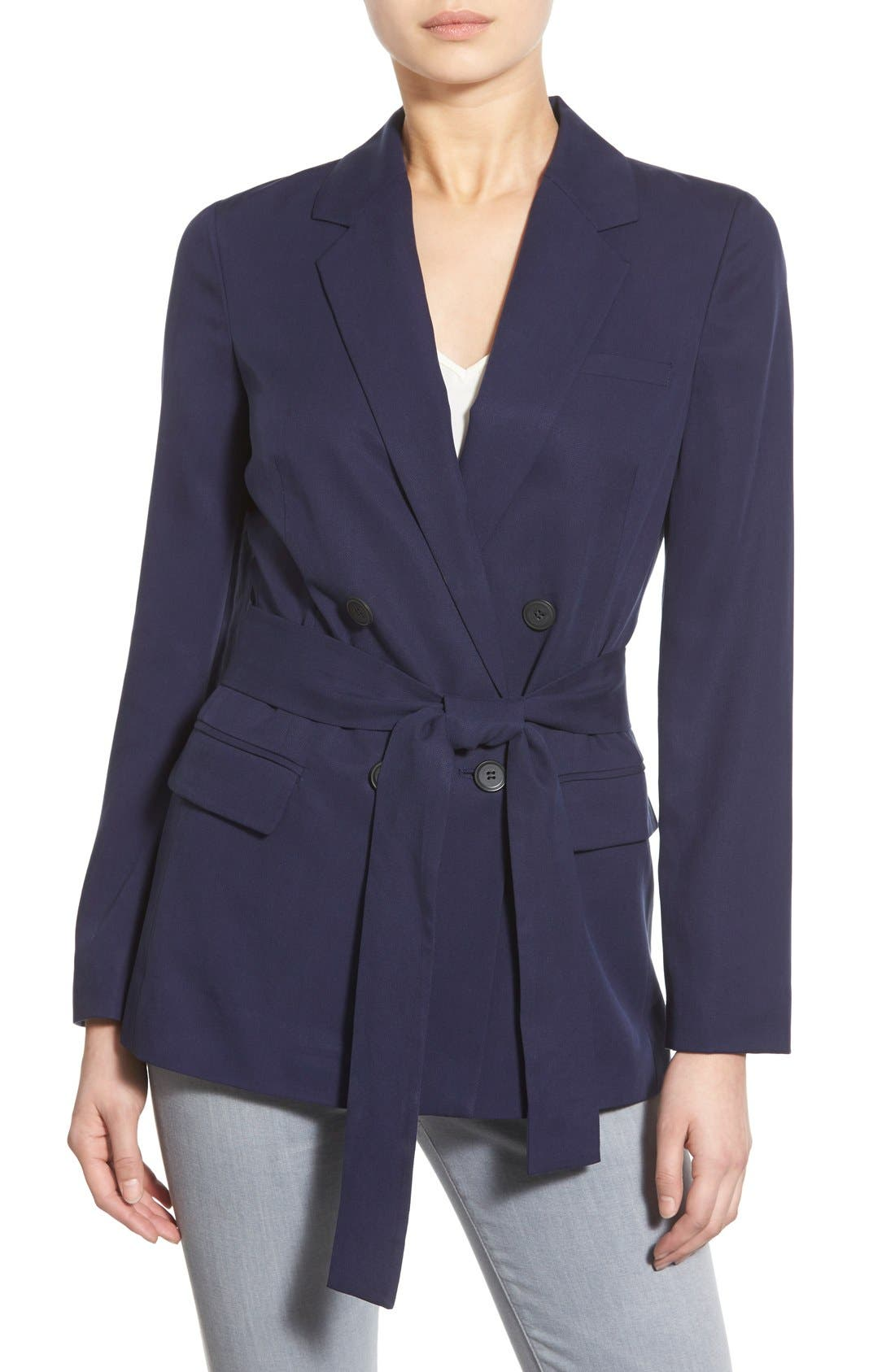 Belted Double Breasted Blazer,                             Main thumbnail 1, color,                             Evening Navy