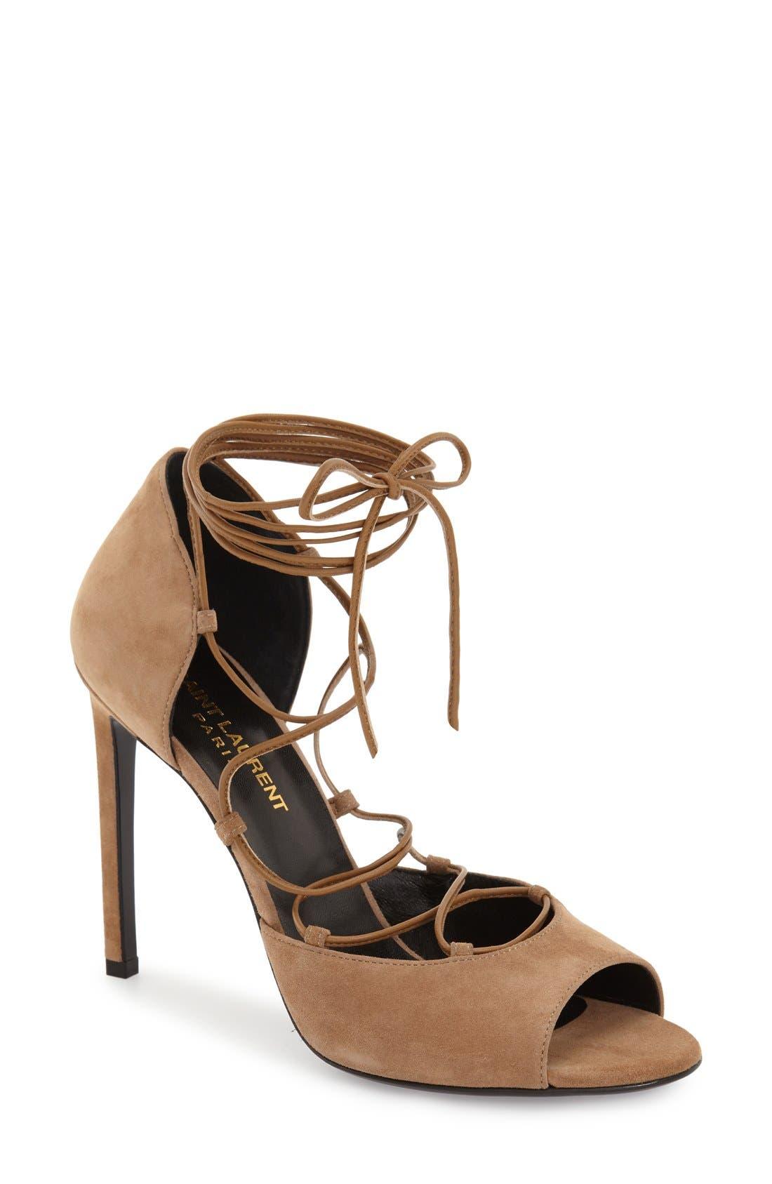Main Image - Saint Laurent 'Kate' Lace-Up Sandal (Women)