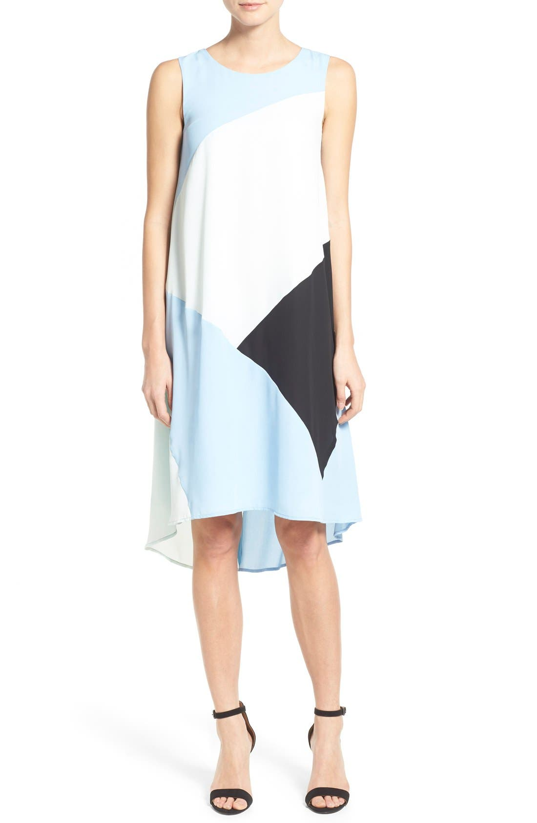 Main Image - Vince Camuto Colorblock High/Low Hem Shift Dress (Regular & Petite)