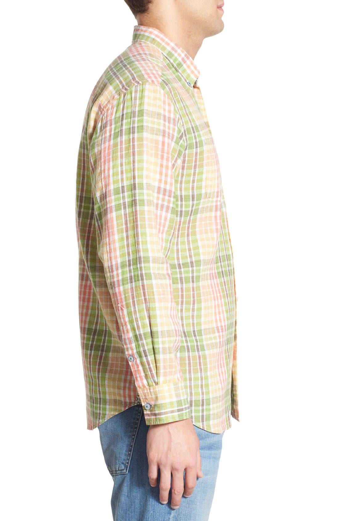 'Sun Direction' Regular Fit Plaid Sport Shirt,                             Alternate thumbnail 3, color,                             Villa Yellow