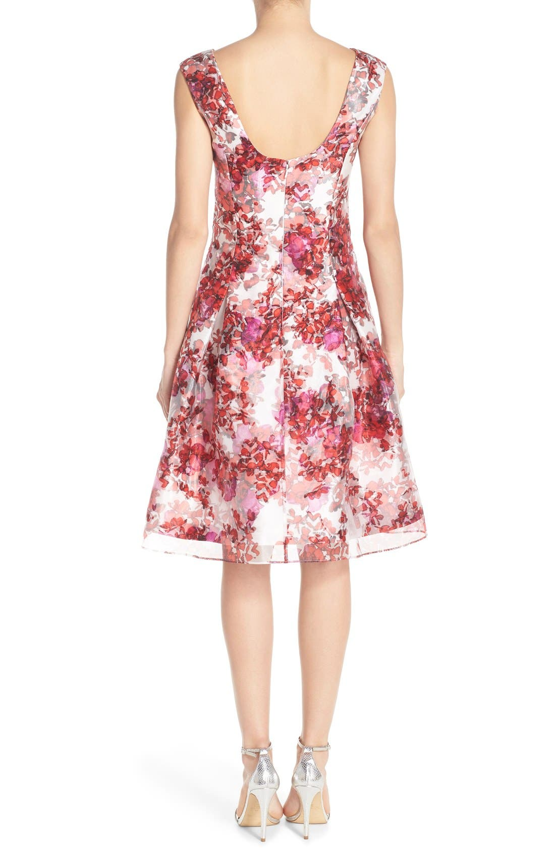 Alternate Image 2  - Aidan Mattox Organza Overlay Fit & Flare Dress
