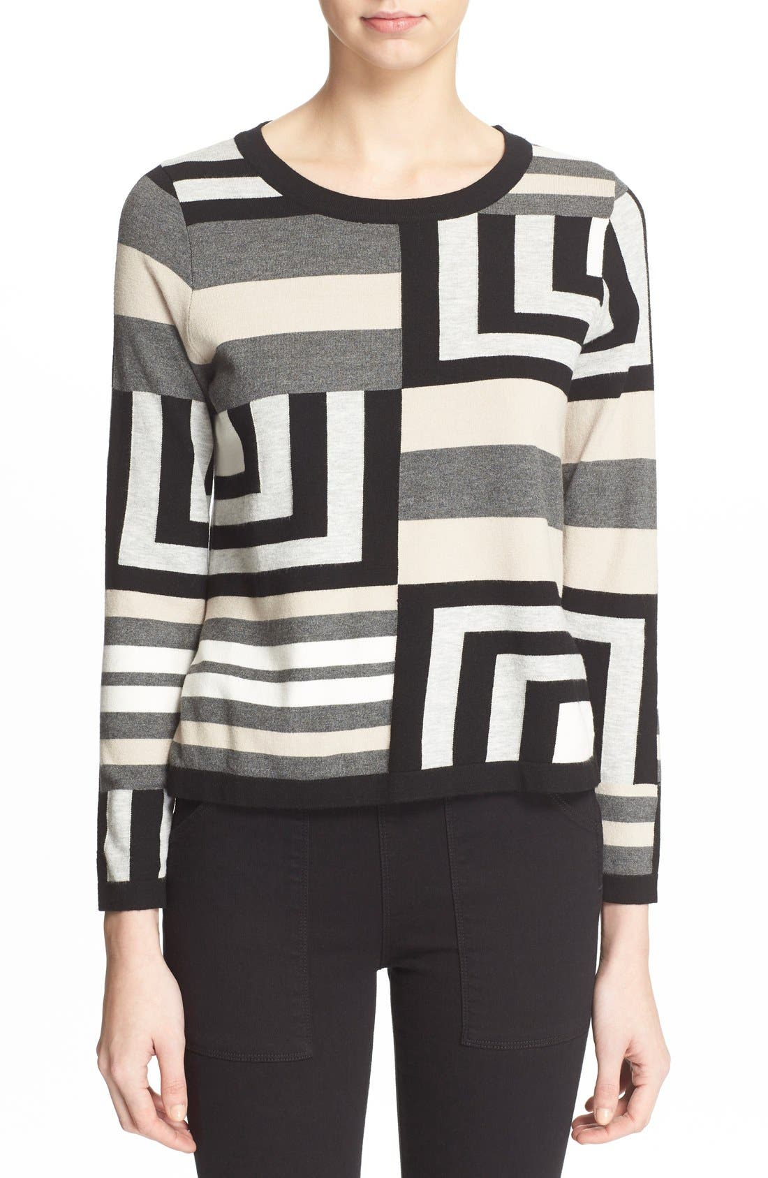 Alternate Image 1 Selected - Milly Geometric Intarsia Pullover