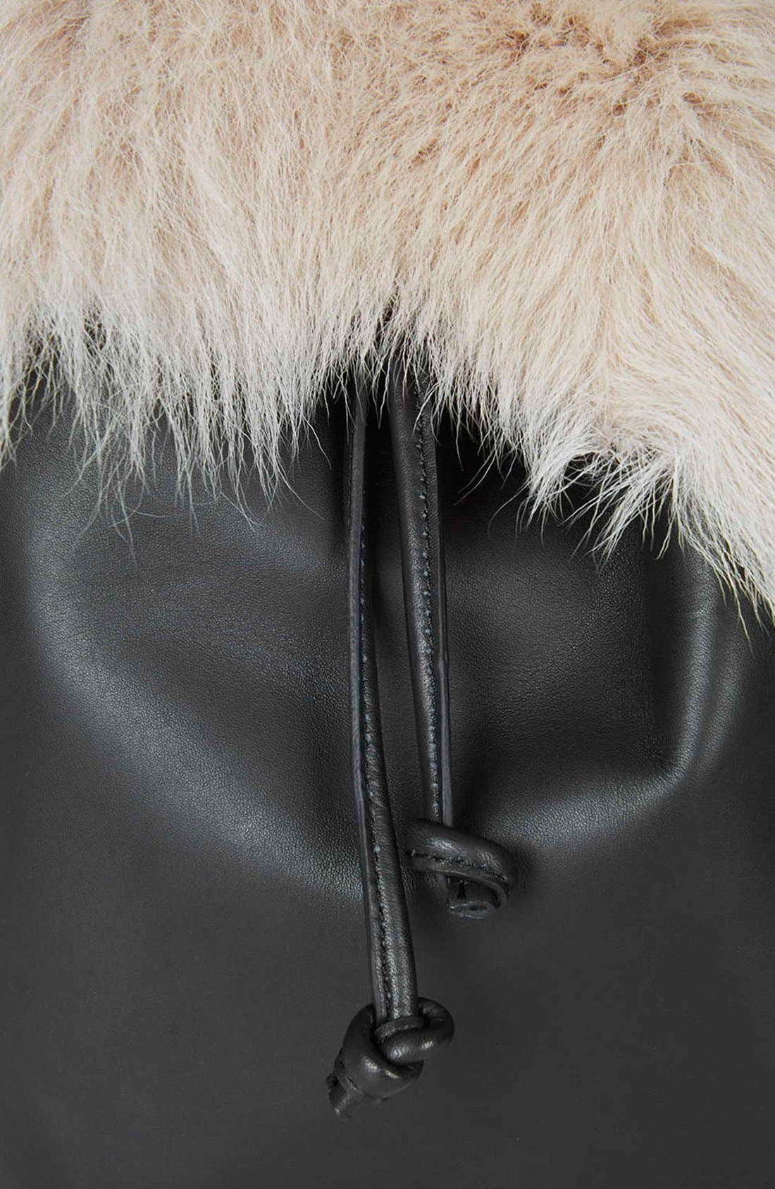 Alternate Image 4  - Topshop Shearling & Leather Backpack