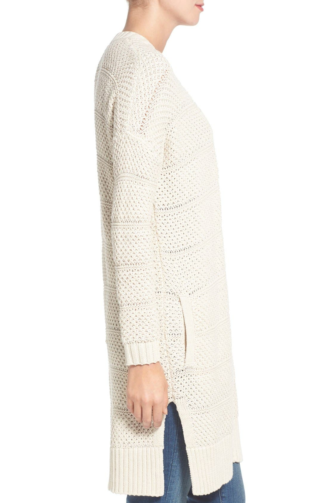 Alternate Image 3  - Caslon® Open Stitch Long Cotton Cardigan (Regular & Petite)