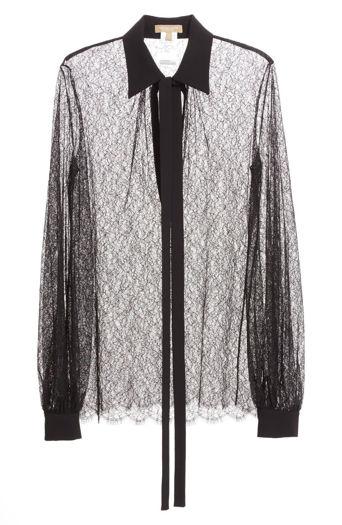 Alternate Image 5  - Michael Kors Tie Neck Chantilly Lace Blouse
