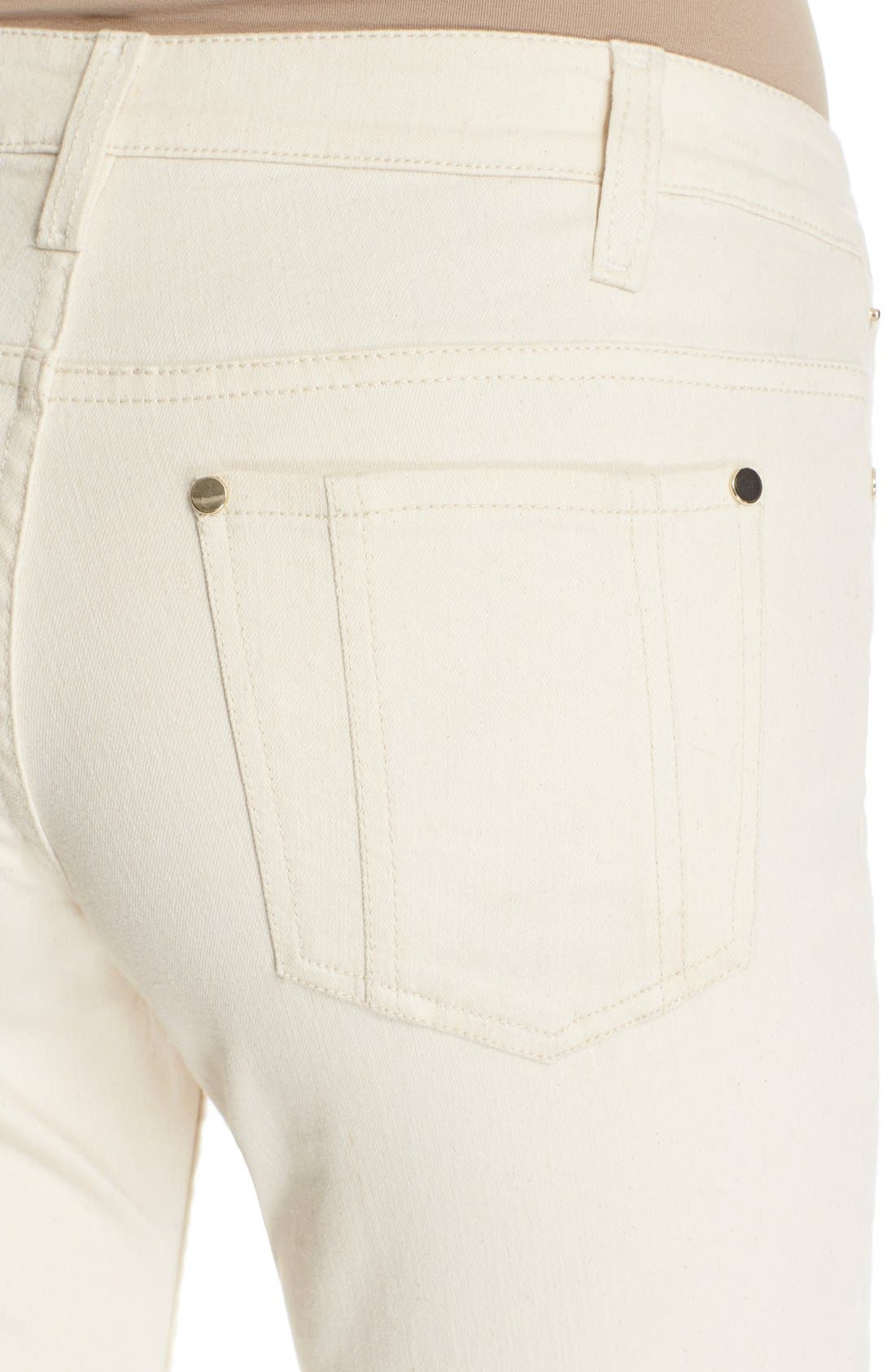 'Ryley' Embroidered Flare Jeans,                             Alternate thumbnail 4, color,                             Natural/ Multi