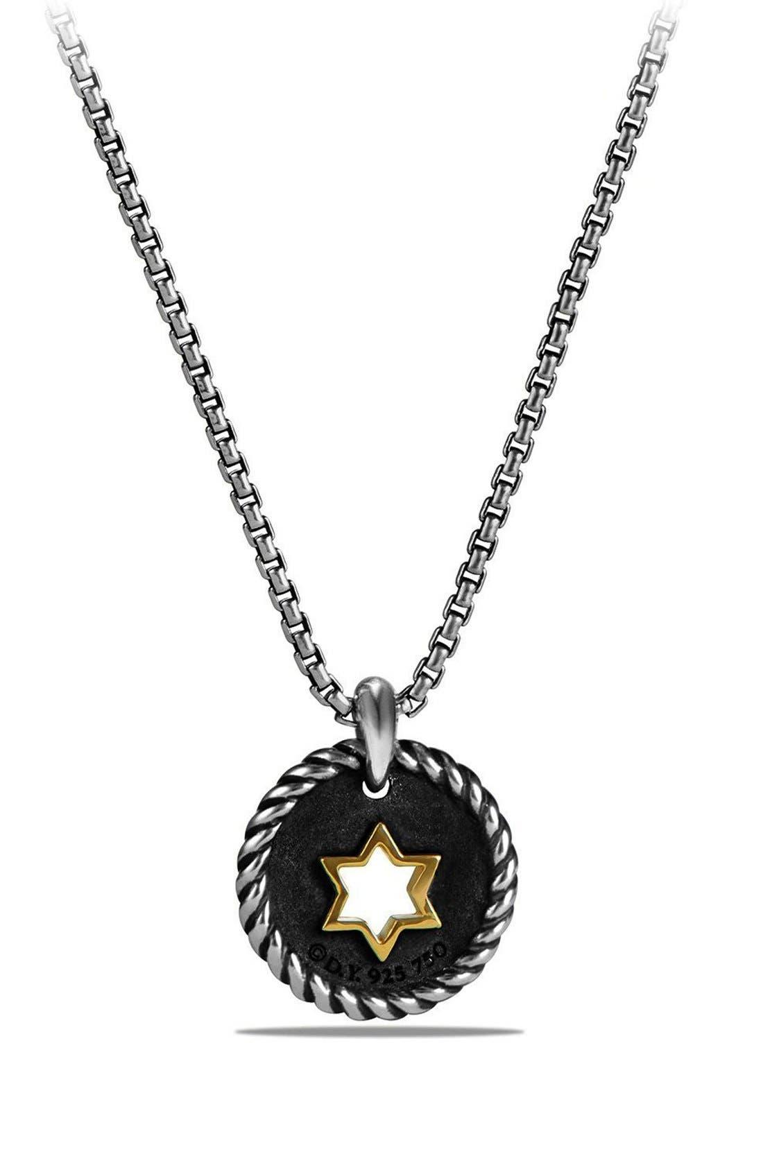 'Pettie Pavé' Star of David Pendant Necklace,                             Alternate thumbnail 2, color,                             Silver