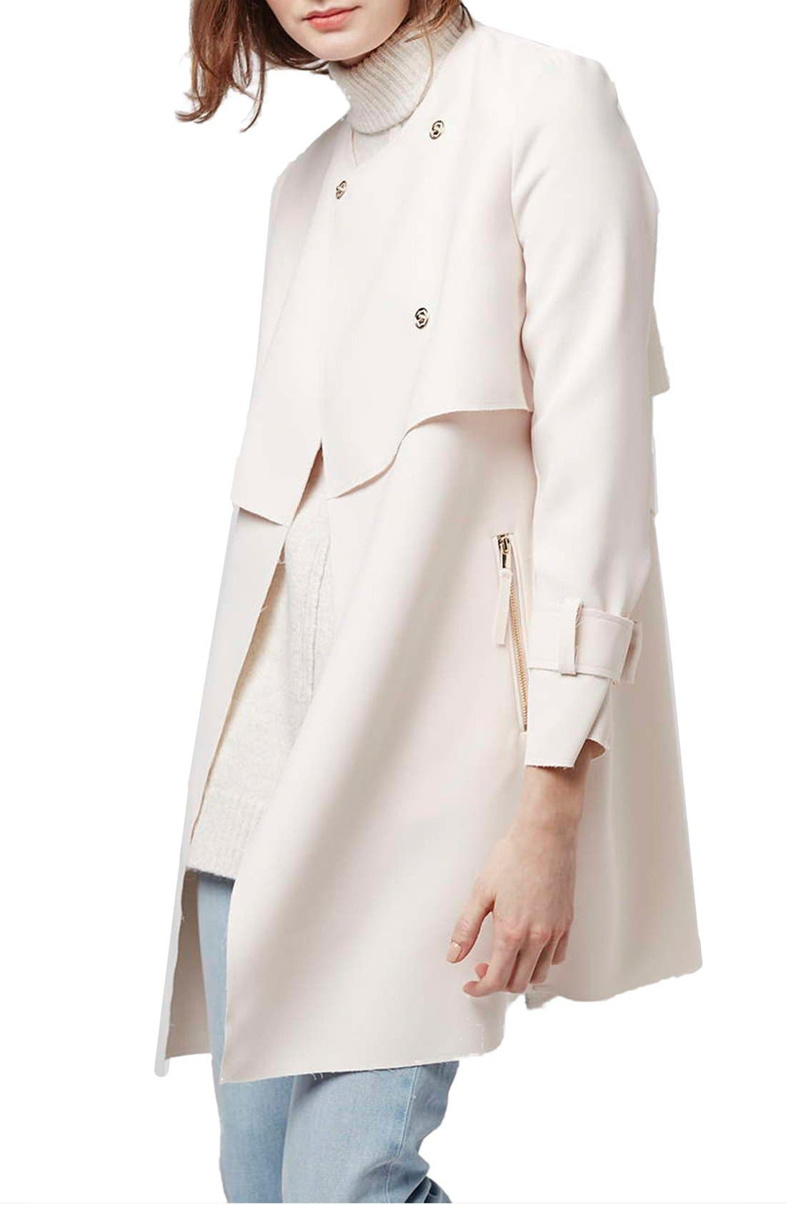 Main Image - Topshop 'Putty' Raw Edge Belted Coat
