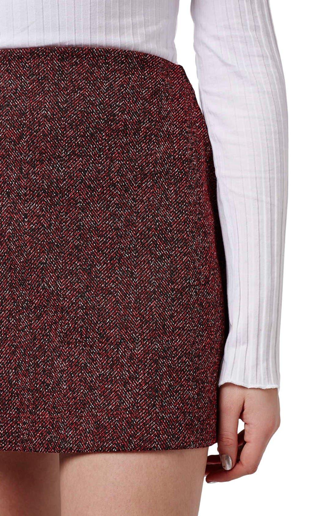 Alternate Image 5  - Topshop Marled Herringbone Miniskirt