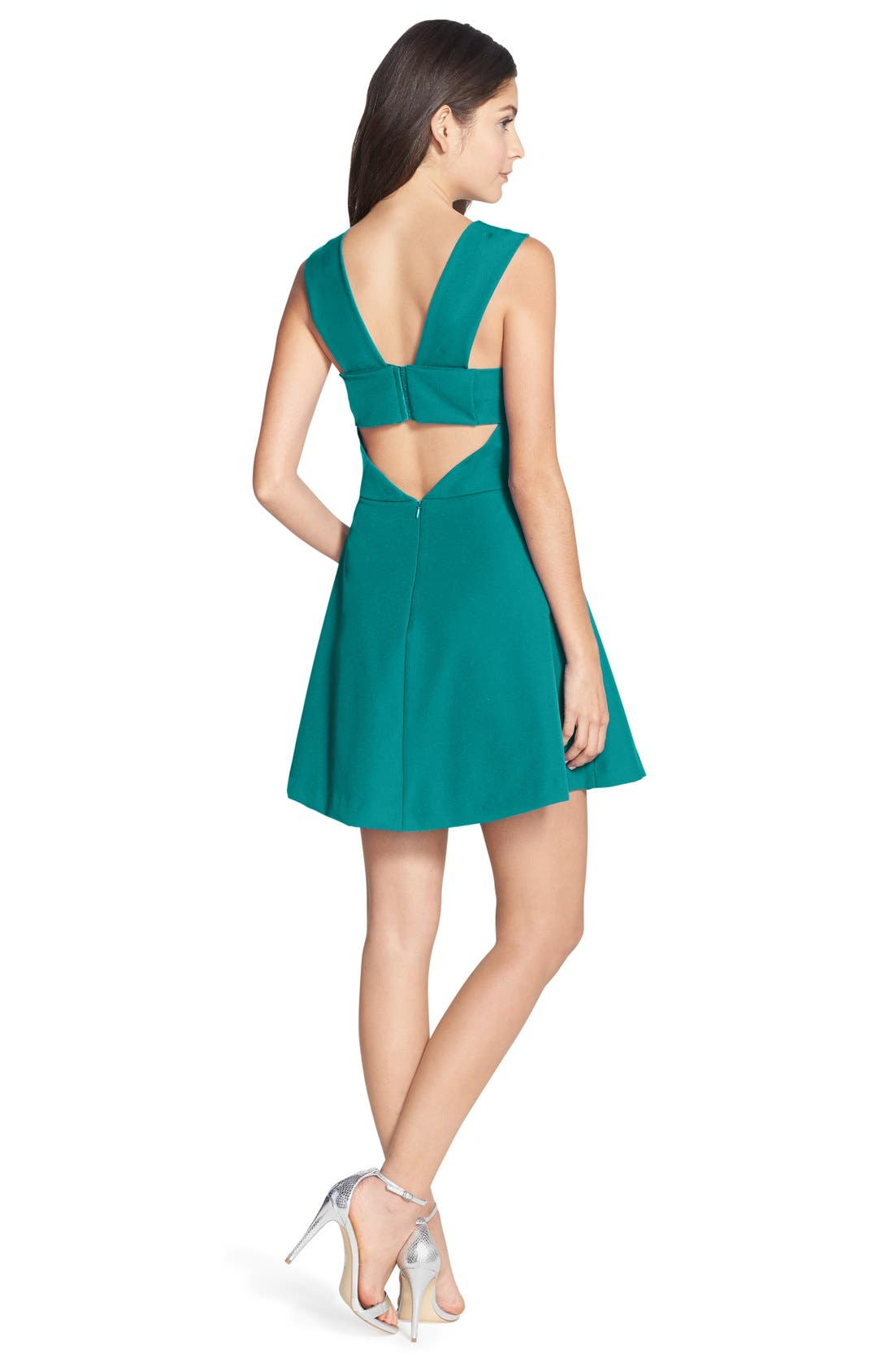 Bianca Back Cutout Fit & Flare Dress,                             Alternate thumbnail 2, color,                             Dark Turquoise