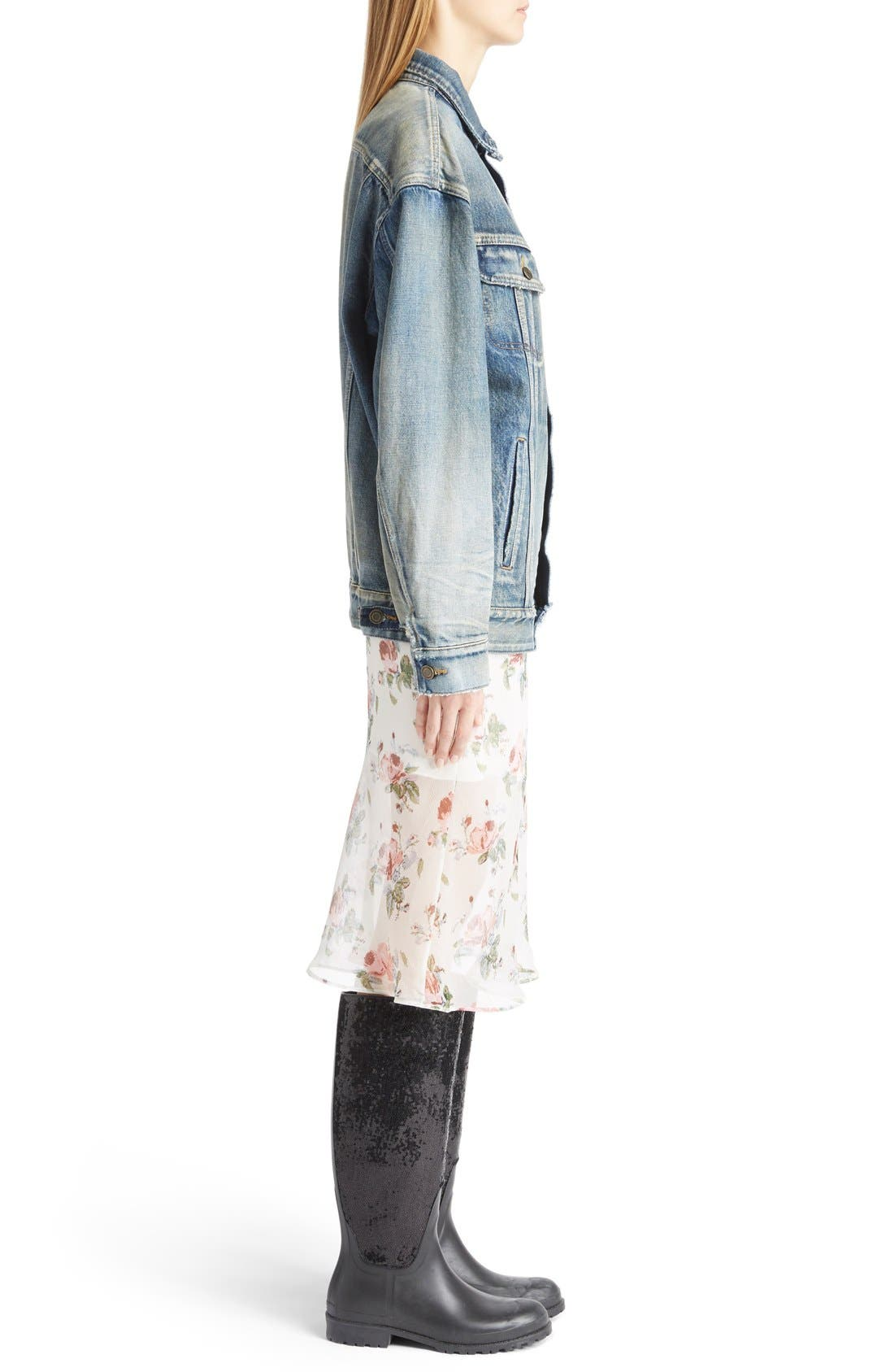 Alternate Image 4  - Saint Laurent Oversize Vintage Wash Denim Jacket