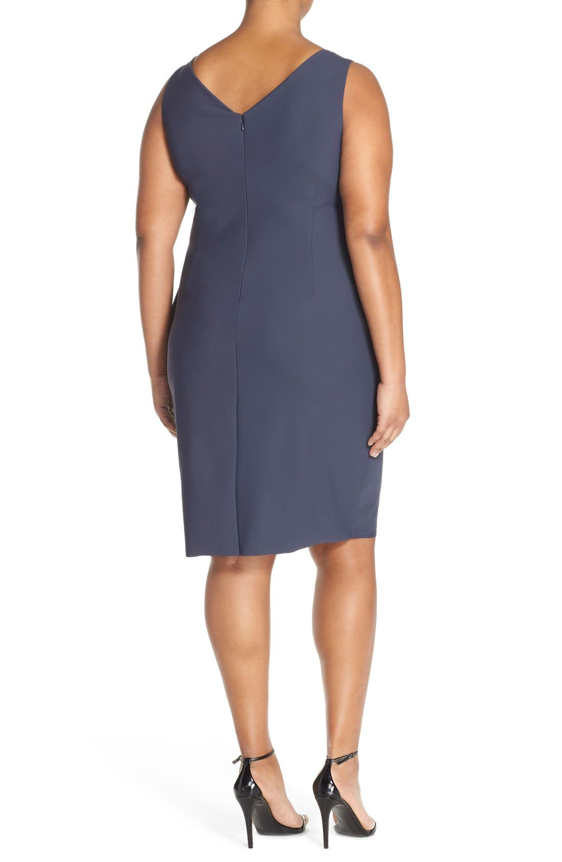 Embellished Surplice Sheath Dress,                             Alternate thumbnail 2, color,                             Charcoal
