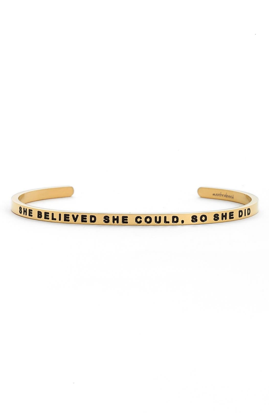 'She Believed She Could' Cuff,                         Main,                         color, Gold